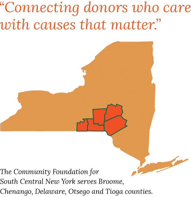 New York State map with tagline Connecting donors who care with causes that matter